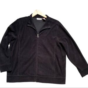 Carroll Reed Petite Black Corduroy Jacket Heart Zipper Women Size M Cotton Blend